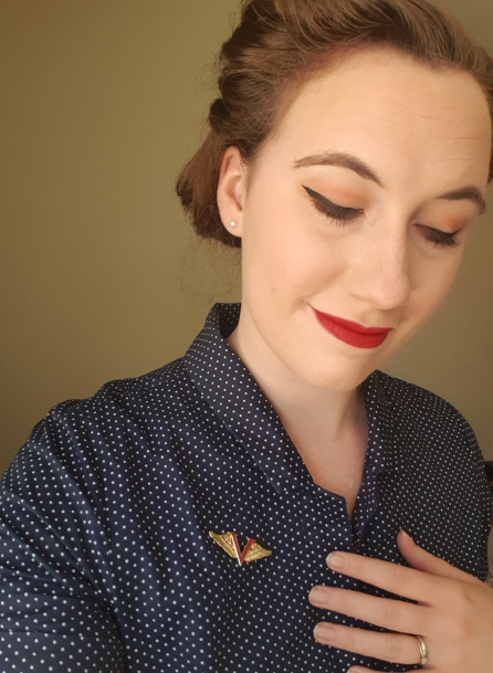 Besame pin and victory red lipstick